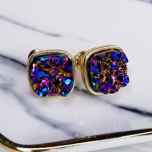 Jewelry - Blue Oil Slick Square Druzy Stud Earrings